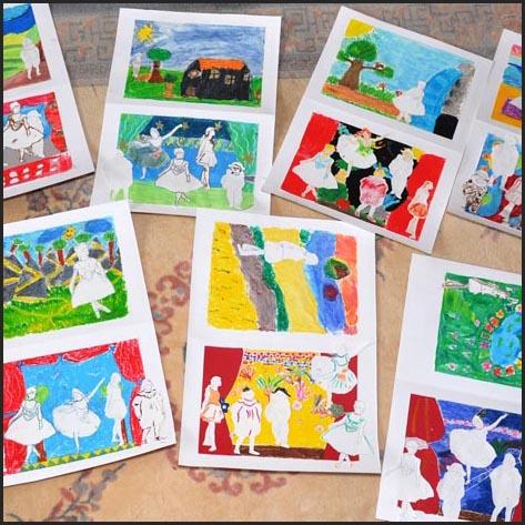 peintures et dessins des enfants de l'atelier d'art esquisse de rambouillet