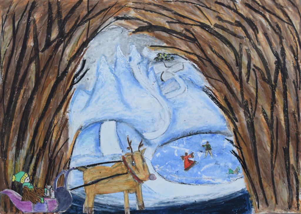 Peinture à partir d'un conte donné par Caroline Gilly