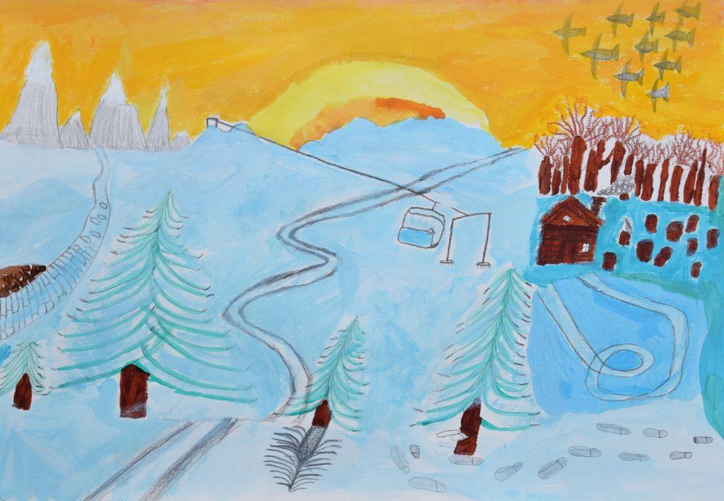 Travail sur la neige de l'atelier des enfants de l'atelier d'art esquisse de Rambouillet